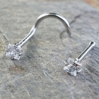 Tiny Square Crystal Nose Bone or Corkscrew Nose Piercing Ring Stud