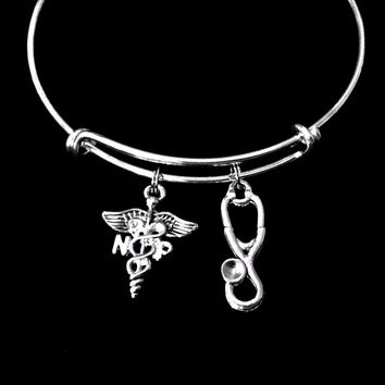 NP (Nurse Practitioner) Adjustable Expandable Silver Plated Bangle Bracelet One Size Fits Most Medical Occupational Charm Bracelet