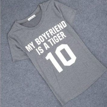 PEAPIH3 MY BOYFRIEND IS A TIGER ¡¾Front?€?printed hippie punk women's T-shirt