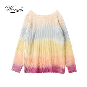 Women Pullover Rainbow Sweater Coarse wool knit Maccaron Color gradient Loose Sweater Tumblr Female Autumn New Fashion C-072