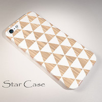 iPhone 4/ 4s and 5 Case - White Triangles on Wood Geometric - Cell Phone Cover - iPhone Hard Case - Tribal Aztec Neutral