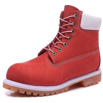 Timberland Rhubarb Boots 2018 White Red For Women Men Shoes Waterproof Martin Boots