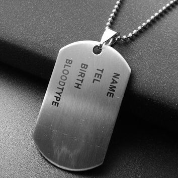 Unique Designer Stainless Steel Mens Nameplate Military Army Style Dog Tags Chain Mens Pendant Necklace Jewelry Accessories