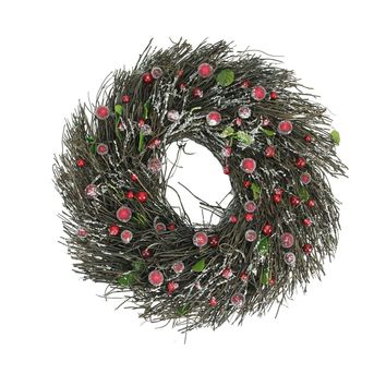 "13"" Frosted Brown Twig Artificial Christmas Wreath with Leaves and Berries - Unlit"