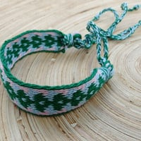 cotton bracelet, table weave woven friendship braclet, light blue green wrist band, handmade wrist cuffs, boho ethnic jewelry, arm band