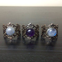 Amethyst Filigree Ring - Adjustable