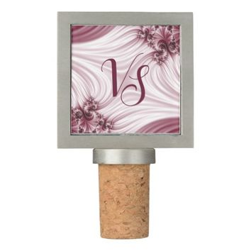 Pretty pink fractal. Silk imitation. Add monogram. Wine Stopper