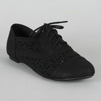 Cambridge-05 Perforated Lace Up Oxford Flat