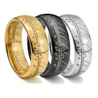 Tungsten Carbide Gold, Black & Silver Lord LOTR Style One Ring Set - INCLUDES ALL 3 RINGS (Available in Sizes 4-14 Including Half Sizes)