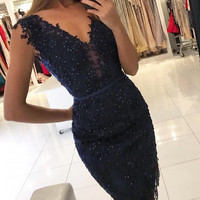 Navy Blue Prom Dresses Short Sheath V-neck Applique Lace Party Gowns With Sparkle Beads SAU634