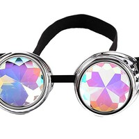 Kaleidoscope Steampunk Rave Glasses Goggles with Rainbow Crystal Glass Lens
