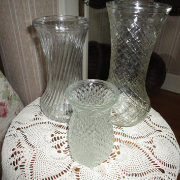 Set Of Three Vintage Hoosier Ware Depression Clear Glass Vases
