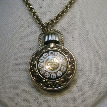 "Vintage Avon Perfume Pocket Watch Necklace, 32"" Gold Tone Chain, 5mm wide, 1970's"