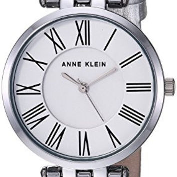 Anne Klein Women's AK/2619SVSI Metallic Leather-Strap Watch, Silver-Tone