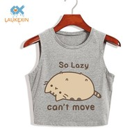 Pusheen The Cat SO LAZY CAN'T MOVE WOMENS CROPPED CROP TOP SUMMER FASHION 100% COTTON LOOSE PLUS SIZE TANK TOP T SHIRT CROPS