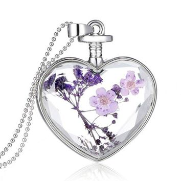 Usstore Women Lady Creative Lavender Romantic Hearts Necklaces DIY Floating Memory Living Pendant