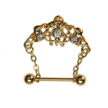 ac DCCKO2Q Royal Gold Color Tiara Crystal Dangle Piercing Ring Creative Fake Piercing 2017 Body Jewelry