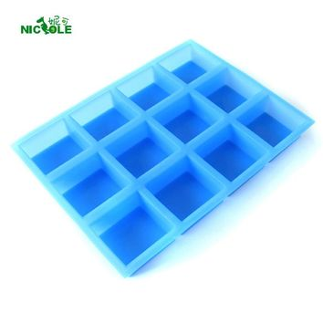 Nicole Silicone Soap Mold for Natural Handmade 12-Cavity Rectangular Swirl Loaf Bar Mould