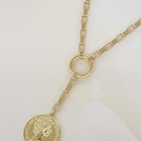 Power Player Gold Coin Lariat Necklace