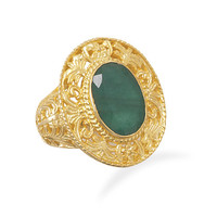 Ornate 14 Karat Gold Plated Rough-Cut Dyed Beryl Ring