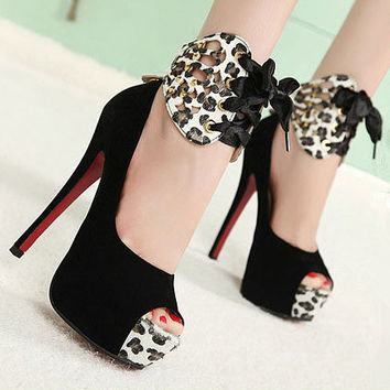 Summer Fashion  Hollow Multicolor Leopard Shallow Mouth Exposed Toe Sandals Shoes Platform Heels Shoes
