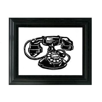 LINOCUT PRINT - Vintage Phone - Antique telephone - Design Trend 8x10