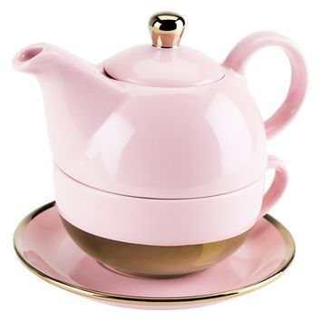 ADDISON PINK AND GOLD TEA FOR ONE SET