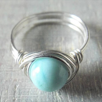 Larimar Ring Larimar Jewelry Light Blue Stone Ring Wire Wrapped Ring Birthday Gift for Her Promise Ring Simple Ring Gift for Girlfriend