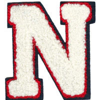 "Large Chenille Cream Red & Navy Letter ""N"" Patch 8cm Nancy Nick Nikki"
