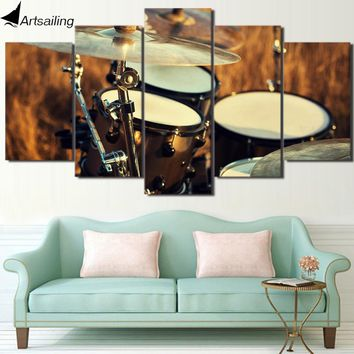 HD Printed 5 Piece Wall Art Canvas Painting Music Drum Musical Instruments Wall Pictures for Living Room