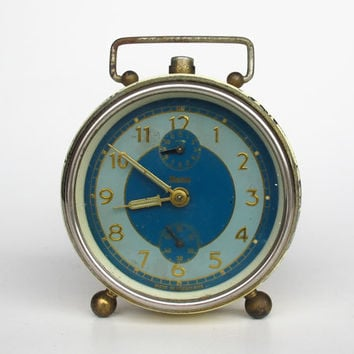 Antique Alarm Clock by Insa, 30's Yugoslavia / Blue and Gold / Working Condition