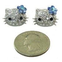Hello Kitty 3D Genuine Austrian Crystal Stud Earrings 3/4""