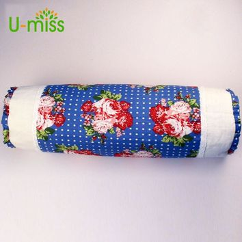 U-miss Cotton Buckwheat Comfortable and Healthy Neck Column Pillow Soft Floral Print 33 Color decorate Pillow