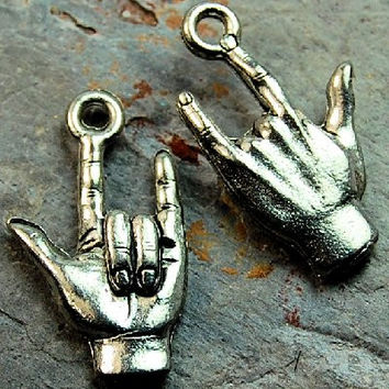 I Love You Hand sign Antique Silver Pewter Charm -1