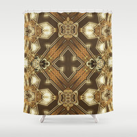 Golden Mali | Fractal Ruffles Shower Curtain by Webgrrl