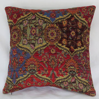 """Bright Red and Blue Pillow Cover, 17"""" Sq Southwest Chenille Tapestry, Boho Kilim Carpet Style, Colorful Ogee Medallion"""