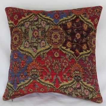 "Bright Red and Blue Pillow Cover, 17"" Sq Southwest Chenille Tapestry, Boho Kilim Carpet Style, Colorful Ogee Medallion"