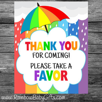 PRINTABLE Rainbow Baby Shower Thank You For Coming - Please Take A Favor Sign | INSTANT DOWNLOAD