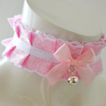 Kitten play collar - Candy floss - pleated pastel kawaii choker with lace - kittenplay pet lolita daddy kink ddlg collar cosplay costume