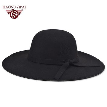 100% New High Quality Wool Felt Hats Custom Women Solid Wide Large Brim Fedora Caps For Women Vintage Floppy Pattern Hat  NM001