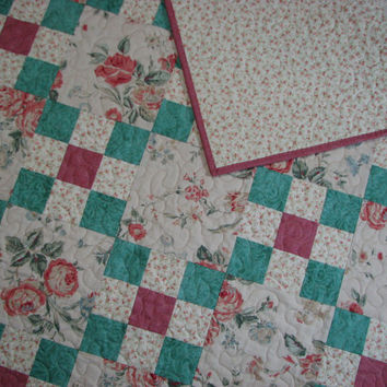 Quilted Throw , Lap Quilt , Baby Quilt , Cottage Chic Floral , Sage/Rose/Antique Beige