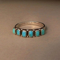 OLD PAWN Vintage Native American Navajo Turquoise RING Band Sterling Silver Size 7.5 c.1940s
