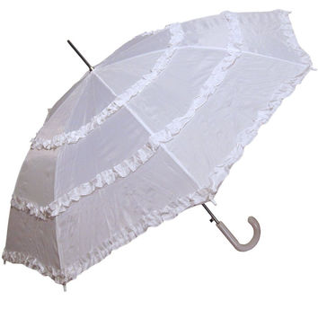 RainStoppers Women's Open Parasol Umbrella with Three Ruffles White 48-Inch