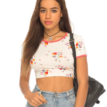 Darby Tee Crop in Ditsy Strawberry by Motel