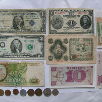 8 Banknote Paper Money & 8 Coins Collection Collectibles Including 1935 Silver Certificate Dollar Bill Netherlands Indies 1 Gulden Indonesia