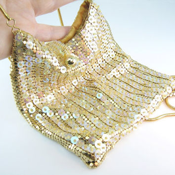 Vintage Evening Purse Whiting & Davis Gold Mesh Sequins Snake Chain Crossbody Bag