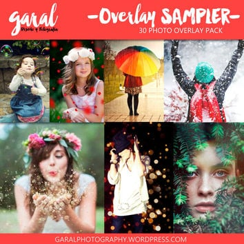 OVERLAY SAMPLE 30 pack, photoshop overlays, rain, snow, glitter blowing , bubbles, natural light, petals, fireworks, photoshop overlay