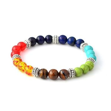 ESBU3C Womens 7Colors 8mm Colorful Chakra Lava Rock Stone Buddha Beads Healing Prayer Elastic Bracelet Free Shipping