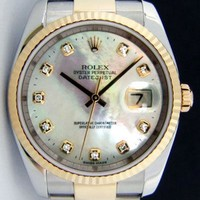 Rolex Datejust Gold & Steel Mother of Pearl Diamond 116233 Oyster - WATCH CHEST