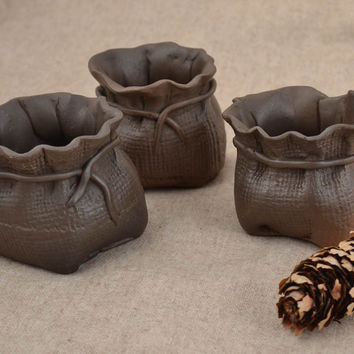 Set of 3 handmade designer black clay pots for bulk products 75 g each
